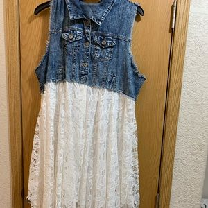 Dresses & Skirts - Denim and Lace Dress